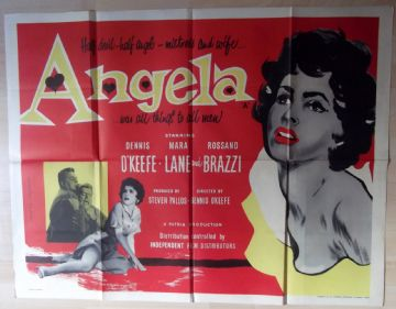 Angela, Original RARE UK Quad Poster, Dennis O'Keefe, Mara Lane, '54